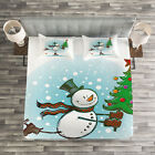 Snowman Quilted Bedspread & Pillow Shams Set, Skating Xmas Tree Snow Print image
