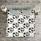 Soccer Quilted Bedspread & Pillow Shams Set, Cartoon Funny Mascot Print image