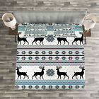 Nordic Quilted Bedspread & Pillow Shams Set, Zigzag Reindeer and Snow Print image