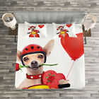 Dog Driver Quilted Bedspread & Pillow Shams Set, Romantic Chihuahua Print