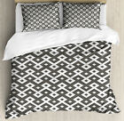 Geometric Duvet Cover Set with Pillow Shams Persian Diamond Line Print image