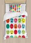 Emoji Duvet Cover Set with Pillow Shams Abstract Watercolor Faces Print