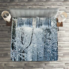 Winter Quilted Coverlet & Pillow Shams Set, Snow Covered Forest Print image