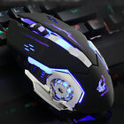 Wired LED Light 4000DPI Optical Usb Gamer Gaming Mouse Metal Plate
