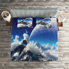 Fantasy Quilted Coverlet & Pillow Shams Set, Snow Capped Mountain Print image