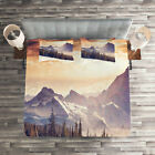 Nature Quilted Coverlet & Pillow Shams Set, Winter Evening Mountain Print image