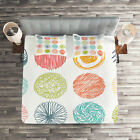 Doodle Quilted Coverlet & Pillow Shams Set, Childish Joyful Abstract Print image