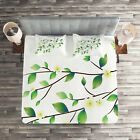 Animal Quilted Coverlet & Pillow Shams Set, Flower and Dragonflies Print image