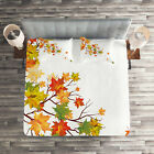 Fall Quilted Coverlet & Pillow Shams Set, Autumn Foliage Maple Leaf Print image