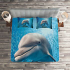 Fish Quilted Coverlet & Pillow Shams Set, Dolphin in Ocean Marine Print image