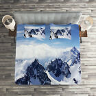 Winter Quilted Coverlet & Pillow Shams Set, Mountain Peak Scenery Print image