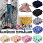 Large Luxury Hand Chunky Knit Warm Giant Throw Over Bed Soft Blanket Bedspread image