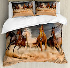 Horse Duvet Cover Set with Pillow Shams Equine Themed Animals Print image