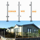Stainless Steel Balustrade Posts Mid/Corner End Grade 304 Glass +Clamps+Base