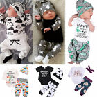 US Newborn Baby Boy Girl Tops Romper Bodysuit Jumpsuit Pants Outfits Clothes Set