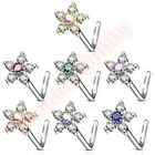 20G CZ Flower L Bend Nose Stud Bar Ring Body Piercing Jewellery