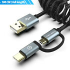2 In 1 Retractable Coiled Micro USB Type C Fast Charging Cable for Mobile Phone