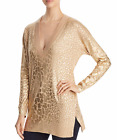 MICHAEL Kors Metallic Giraffe Print Sweater Gold