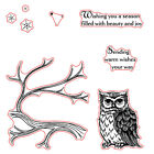 Owls Branches Stamps Dies Stencil Scrapbook Paper Card Embossing Crafts Supplies