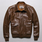 Men 100% Real Leather Jacket Military Flight Short Outdoor Air Force Coats V45
