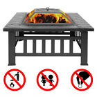 Fire Pit Bowl Wood Burning Portable Grill BBQ Garden Fireplace Outdoor Heater US