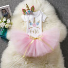 Kids Girls Unicorn Dress Tutu Floral Princess Cosplay Costumes Birthday Party US