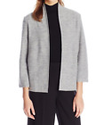 Anne Klein Wool Blend Open-Front Cardigan Sweater Grey Heather