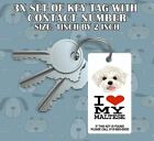 I LOVE MY MALTESE KEYCHAIN DOG TAG  (add phone number just incase key lost)