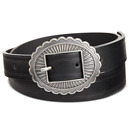 INC International Concepts women's Skinny Conch Buckle Belt Black