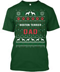 Printed Boston Terrier Ugly Christmas Sweater - Dad Hanes Tagless Tee T-Shirt
