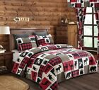 LODGE LIFE  T/F-Q/K Quilt Set BLACK BEAR PAW MOOSE CABIN RED BUFFALO PLAID CHECK image