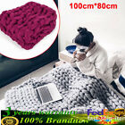 Soft Warm Hand Chunky Knitted Merino Wool Blanket Sofa Thick Yarn Bulky Throw US image