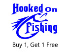 ~*~ 2 Hooked On Fishing Larger Vinyl Decals Sticker Custom Available Bait Fish