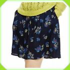 M&S SIZE 12 14 NAVY FLORAL A-LINE BUTTON FRONT FLOATY POCKET MINI SUMMER SKIRT