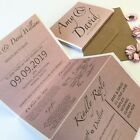 Rose Gold Pink Day or Evening Personalised Wedding Invitations Concertina Fold