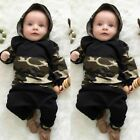 Infant Newborn Long Pants Boys Clothes Set Camouflage Outfits Hooded Tops