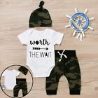 T-Shirt Boy Clothes Worth The Wait Army Green Baby Romper Camouflage Long Pants