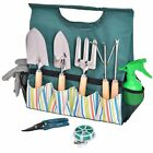Potters Tool Caddy Garden Care Hand Tools Set with Easy Carry Canvas Case 10 pcs