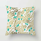 Throw Pillow Case Cushion Cover Golden Plants Line Home Decor Polyester 18''