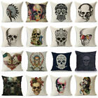 18'' Vintage Skull Cotton Linen Cushion Cover Throw Waist Pillow Case Home Decor image