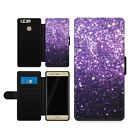 Purple Printed Sparkly Ombre Magnetic Wallet Card Flip Faux Leather Phone Case