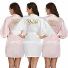 Women Bride Satin Silk Heart  Robe Wedding Party Maid Of Honor Bridesmaid Gown