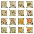 Vintage Flower Butterfly Cotton Linen Sofa Pillow Case Cushion Cover Home Decor