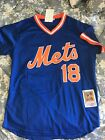 New York Mets Strawberry #18 Mesh Batting Practice Jersey Royal Throwback Mens