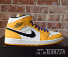 Nike Air Jordan 1 Mid SE Lakers University Gold Purple Size GS Men