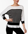 Calvin Klein Striped Layered-Look Sweater Black White size XL