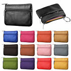 Unisex Leather Coin Case ID Credit Card Holder Zipper Wallet Keychain Mini Purse image