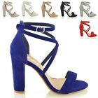 WOMENS ANKLE STRAP BLOCK HEEL SANDALS LADIES STRAPPY BUCKLE PROM PARTY SHOES 3-8