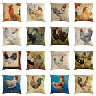 18'' Colorful Chicken Rooster Printed Cushion Cover Throw Pillow Case Home Decor image