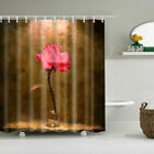 Passionate Flower Art Waterproof Fabric Bathroom Shower Curtain 12 Hooks